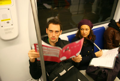 My dear friends F. and K. on the metro to the conference venue, pretending to be interested in the programme while in fact fighting a pretty nasty hangover.
